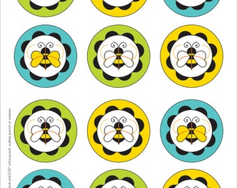 Bumble Bee Printable Cupcake Toppers and Cupcake Wrappers