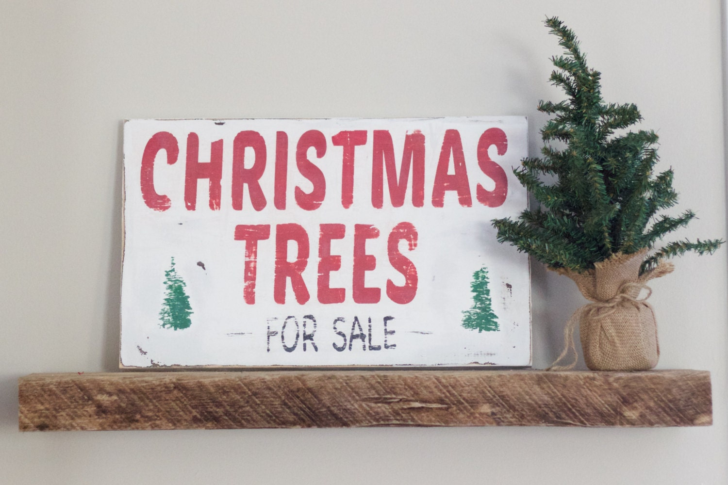 Christmas Trees For Sale Sign Distressed Wooden Sign Rustic