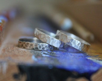 stacking silver rings - priced per ring - hammered sterling silver - sized to order - patina (optional)