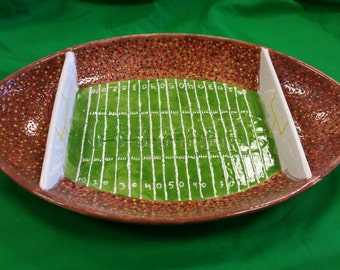 Hand painted Football Chip and Dip Platter