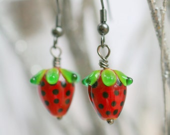 Strawberry Lampwork Bead Earrings, Strawberry Earrings, Berry Earrings, Children's Earrings, Fruit Earrings, Red Earrings