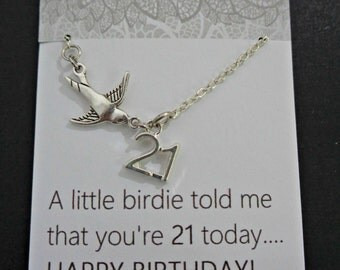 "21st birthday gift ideas, 21st necklace, 21st birthday gift for her, 21st birthday gift for women,  ""A little birdie told me..."" quote"