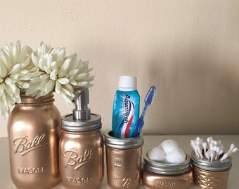 gold metallic mason jar bathroom set ball by darlinscraftydesigns, Bathroom decor