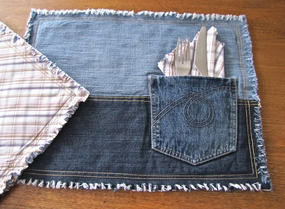 Recycled Blue Jean Pocket Placemats Reversible With