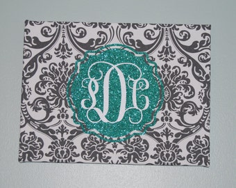 Monogrammed Canvas, Mothers Day Gift ,Custom Monogrammed Canvas,Monogrammed  Wall Art,Damask