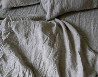LINEN BEDDING SET grey white fitted sheet flat sheet two pillowcases 100% natural flax washed linen bedding California King Queen Full gift
