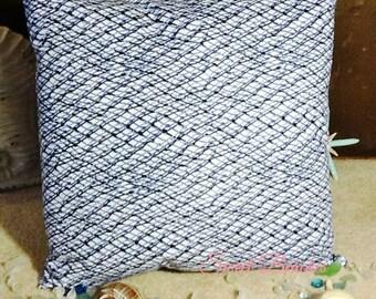 Blue Fish Net Print Beach Pillow Covers Ocean Seaside Cabana Patio Decor
