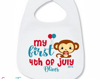 My First 4th of July Bib Monkey Baby Bib Cute Patriotic Boy Girl