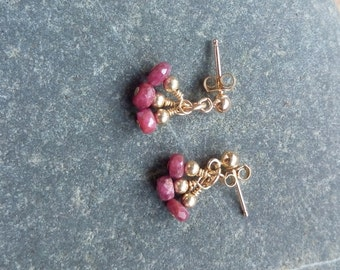 Ruby Cluster Earrings - 9ct Gold Filled, Gold Ruby Earrings, Ruby Stud Earrings, Ruby Drop Earrings, July Birthstone, Birthstone Earrings