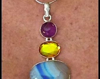 """Sterling,T opaz Pendant, 18g, 3""""with Amethyst and, Blue Quartz. Handmade in Guerrero Mexico, Stamped, Elegant and Unique"""