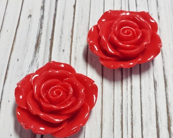 Flower Pendant, Resin Flower, Red, Rose, Great for Kids Chunky Necklaces, DIY, Destash, ,Overstock, Beads - 2 Pcs