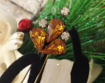 Vintage Amber Rhinestone Hair Pin, Gold Rhinestone Bobby Pin, Hair accessory, Vintage Bobby Pin, Estate Jewelry, Gift for Her
