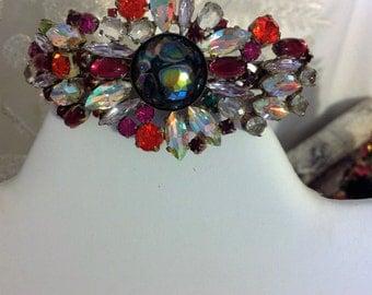 Vintage Rhinestone Flower Barrette, Rhinestone Barrette, Crystal Hair Accessory, Rhinestone Flower Hair Clip, Estate Jewelry, Gift for Her