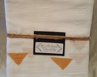 2-Pack white flour towels handpainted with mustard yellow triangles and black dots