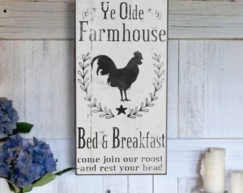 Farmhouse Bed and Breakfast Sign, Rustic Farm sign, Christmas Gift Idea, Birthday Gift, Vintage Inspired Handmade Signs