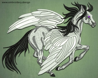 Flying Pegasus embroidery design