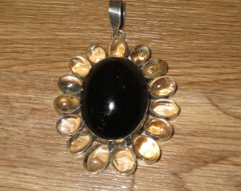 Black Onyx with clear quartz, sterling silver pendant