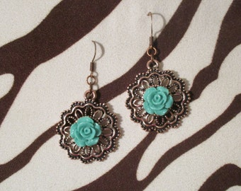 Copper Medalion with turquoise rose