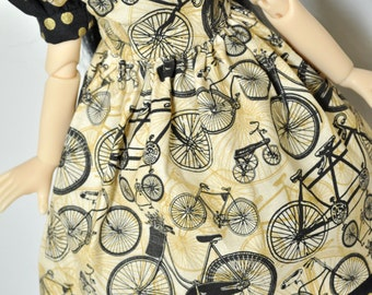 Vintage Bicycle *Pinafore & Dress* Kaye Wiggs MSD BJD dolls. Includes hair bow. BJD doll/model *not* included.