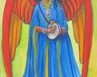 Angel playing Drum Print