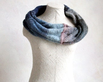 Handmade striped scarf / Knit winter fashion scarves / Shoulder warmer neck scarf / Gray Oversized mobius scarf - Dusk