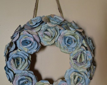 Handmade Atlas Wreath, Recycled Map Wreath, unique gift or Home Decor, upcycled map