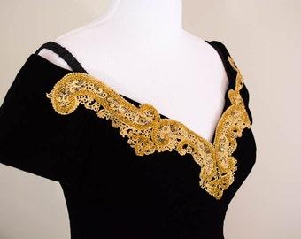 Glamorous Vintage Velvet Dress - MEDIUM - Black Velvet and Gold Lace - Beaded Dress - Party Dress - Off the Shoulder - Formal Dress