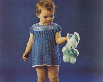 Vintage Robin 2105 Pdf Baby/Toddler Dress Knitting pattern - 20, 22 and 24 inch chest