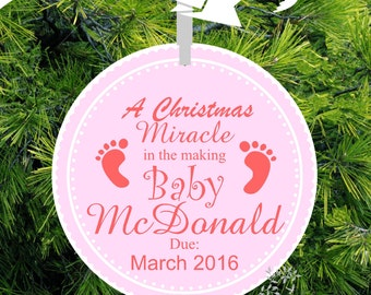 Baby Girl Footprint Christmas Miracle - Expecting Ornament - Baby Footprint We're Expecting Christmas Ornament - BBF102- lovebirdschristmas