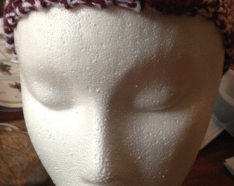 Texas A&M Colors Crocheted Headband with Maroon Flower