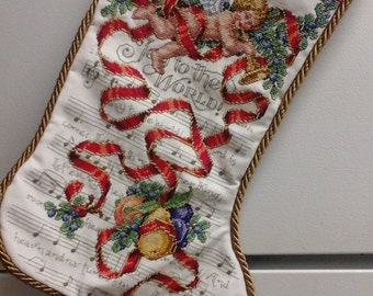 Custom and Personalized Cross Stitched Christmas Stocking of Cherub Entwined in Ribbon with Fruit , Needlepoint , Tapestry , Embroidery