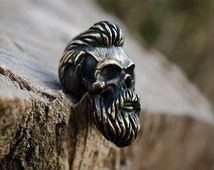 Bearded skull lanyard beads - Large hole beads of bronze. Big, heavy beads are handmade with unique designs!