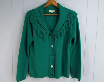 Vintage Womens 1980s / 1990s Green Fringed Shawl Neck Cardigan Sweater | Size M