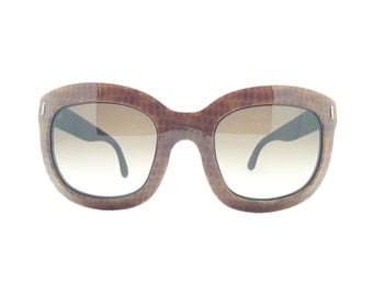 Genuine 1970s Royal Style Hand Made Oversized Brown Vintage Sunglasses