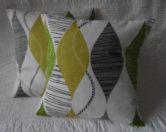Cushion Pillow Throw Cover Cotton 16 inch 40cm Lime Green Black Grey Retro Print Handmade