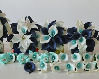 Wedding Package Navy Blue Calla Lilies White Lilies Bouquets Rustic Bridal Bouquet  Real Touch Flowers Silk Flower Wedding Bouquets