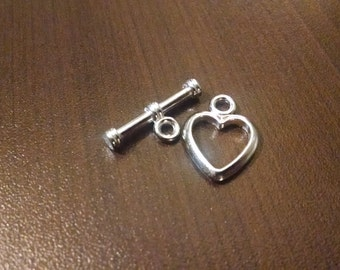 4 count - 20mm x 16mm Heart Toggle Clasps - Jewelry Supplies - Bracelet Clasps - Craft Supplies