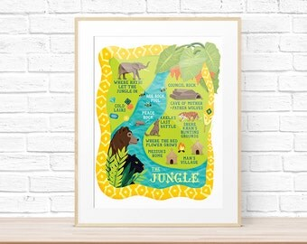Map of the Jungle (Book) Art Print