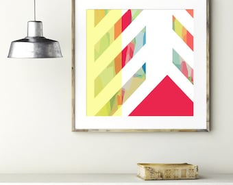 "Modern Wall Art, Mid Century Art, Abstract Print, Geometric Art, Wall Decor, Herringbone Art, Colorful Art, Pink Art, ""Herringbone Hill"""
