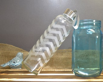 Glass Water Bottle with Etched Chevron Design