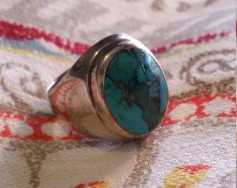 Turquoise and Sterling Sivler Ring Sz 10