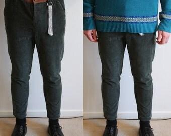 Vintage Dark Green Tapered Corduroy Pants