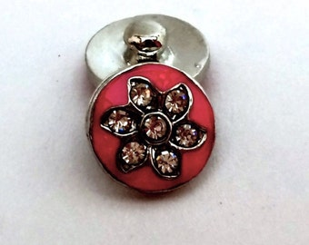 12mm Pink Flower Snap Charm