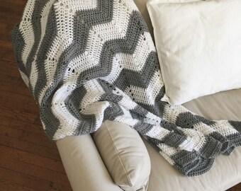 Crochet Chevron Throw Blanket/ Grey + White