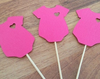 Baby Shower cupcake toppers, 12 Onesie cupcake toppers, Pink,  It's A Girl, gender reveal, Girl baby shower, Cupcake topper, Baby shower