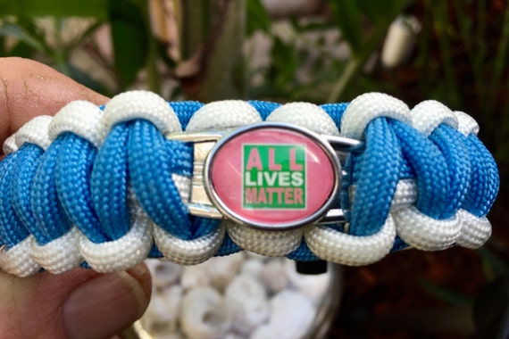 "All Lives Matter Paracord Bracelet, Inspirational  charmed  bracelet, your choice of 5 different ""ALL LIVES MATTER"""