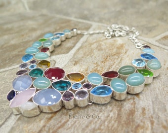Chalcedony Blue Topaz Ruby Amethyst Sterling Silver Necklace