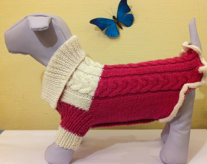 Dog Clothing. Jacket For Dog. Pet Handmade Knit Clothes. Knit Winter Jacket For Dog.Size L