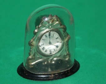 Vintage Dolls House Antique German Metal Clock With Glass Dome REFKM12