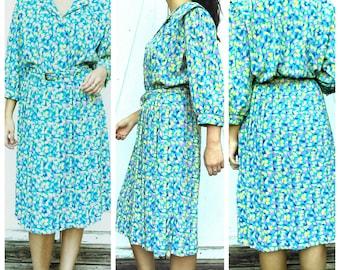 Vintage Summer Dress Pleaded Bottom Vintage 80s  Secertary Print  Dress from Breli Originals Easter Dress  Size Medium